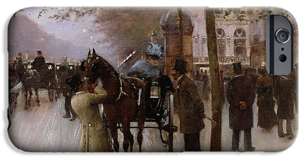 Nineteenth Paintings iPhone Cases - The Boulevards iPhone Case by Jean Beraud