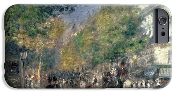 Police iPhone Cases - The Boulevards  iPhone Case by Pierre Auguste Renoir