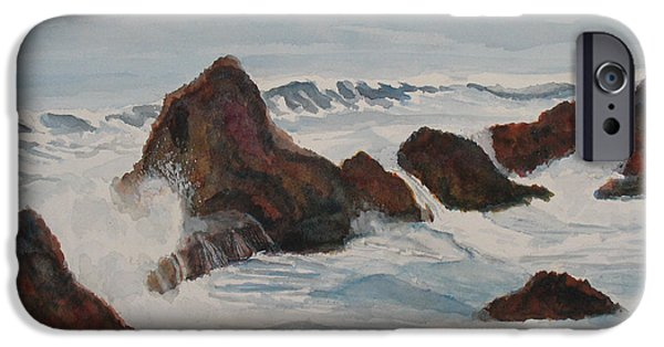 Waves Paintings iPhone Cases - The Breakers at Seal Rock II iPhone Case by Jenny Armitage