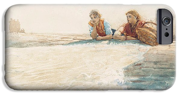 Winslow Homer iPhone Cases - The Breakwater iPhone Case by Winslow Homer