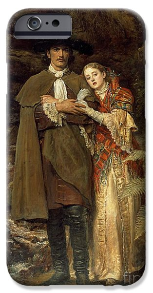 Relationship Paintings iPhone Cases - The Bride of Lammermoor iPhone Case by Sir John Everett Millais