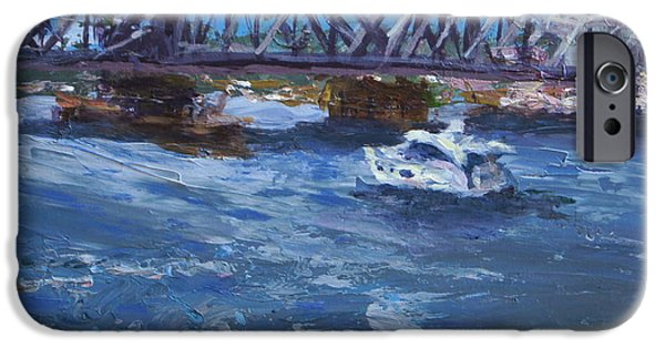 Chicago Paintings iPhone Cases - The Bridge Into Door County iPhone Case by Mary Haas