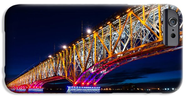Night Lamp iPhone Cases - The bridge of light iPhone Case by Dmytro Korol