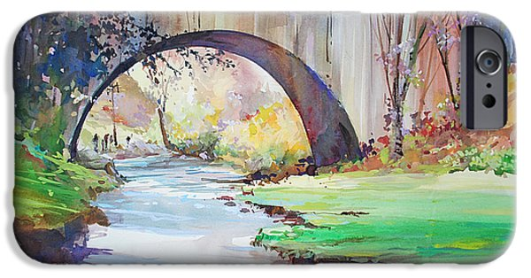 Garden Scene Paintings iPhone Cases - The Bridge Over Brewster Garden iPhone Case by P Anthony Visco