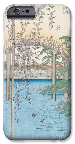 River Drawings iPhone Cases - The Bridge with Wisteria iPhone Case by Hiroshige