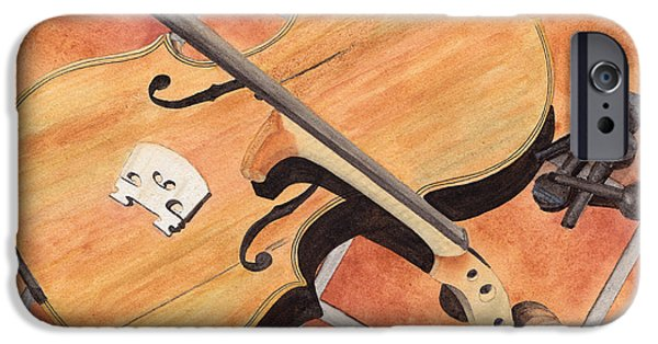 Music Paintings iPhone Cases - The Broken Violin iPhone Case by Ken Powers