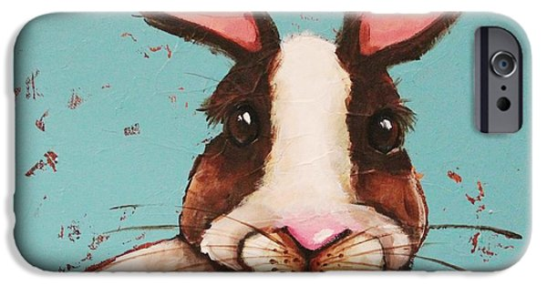 Alice In Wonderland iPhone Cases - The Brown Rabbit iPhone Case by Lucia Stewart