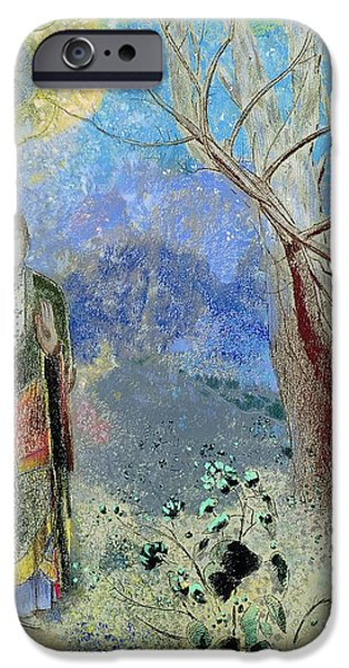 Figures iPhone Cases - The Buddha iPhone Case by Odilon Redon