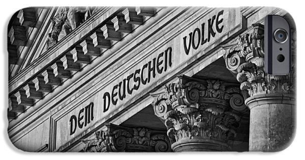 Bas Relief Reliefs iPhone Cases - The Bundestag Berlin - Architectural Detail iPhone Case by Michal