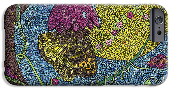 Mosaic iPhone Cases - The Butterfly iPhone Case by Juliana Kroscen