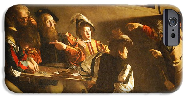 Caravaggio Paintings iPhone Cases - The Calling of St. Matthew. iPhone Case by Celestial Images