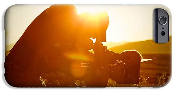Behind The Scenes Photographs iPhone Cases - The Cameraman iPhone Case by Scott Slone