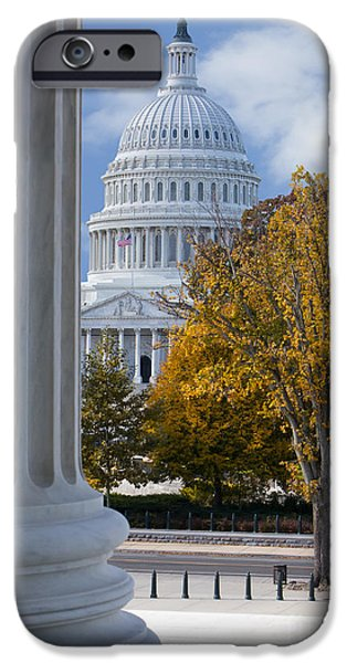 D.c. iPhone Cases - The Capitol from the Supreme Court iPhone Case by Jerry Fornarotto