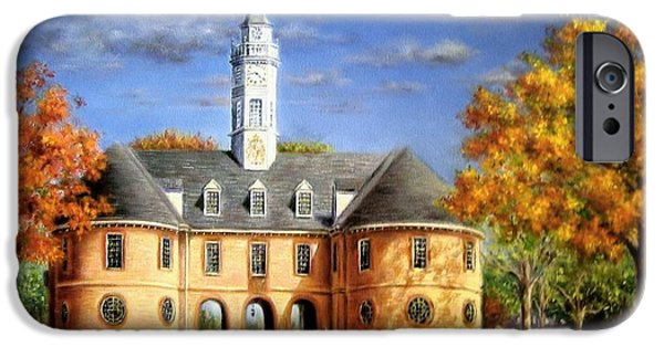 Yorktown Virginia iPhone Cases - The Capitol in Autumn iPhone Case by Gulay Berryman