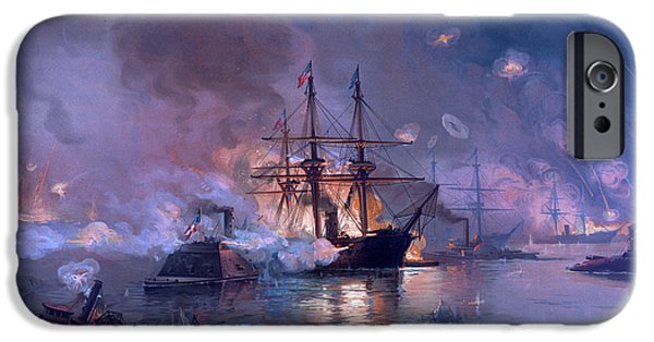Warship iPhone Cases - The Capture of New Orleans during the Civil War iPhone Case by American School