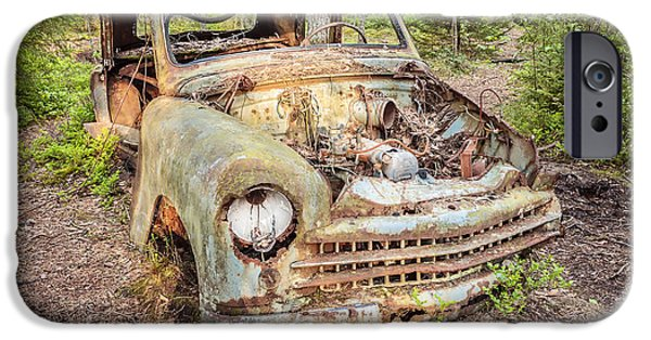 Rust iPhone Cases - The Car in the Forest iPhone Case by Martin Bergsma