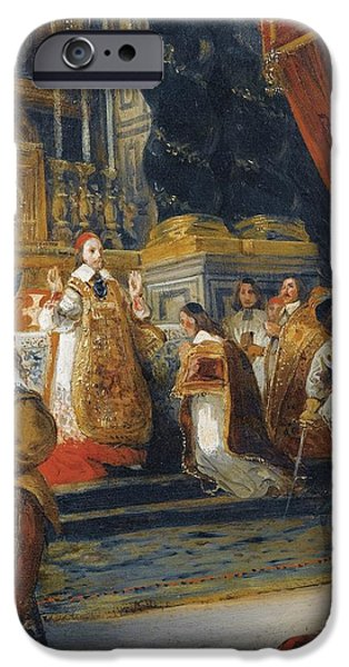 Delacroix iPhone Cases - The Cardinal De Richelieu Saying Mass In The Church Of The Palais Royal iPhone Case by Ferdinand-victor-eugene Delacroix