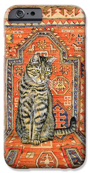 Persian Carpet iPhone Cases - The Carpet Cat iPhone Case by Ditz