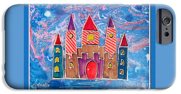 Youthful Mixed Media iPhone Cases - The castle is festive iPhone Case by Aqualia