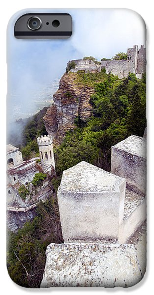 Mist iPhone Cases - The Castles Of Erice Sicily iPhone Case by Stuart Johnson