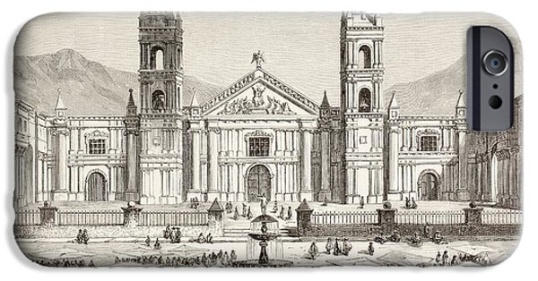 Nineteenth iPhone Cases - The Cathedral And Plaza De Armas At iPhone Case by Ken Welsh