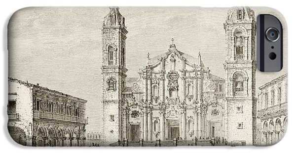 Nineteenth iPhone Cases - The Cathedral In Havana, Cuba Circa iPhone Case by Ken Welsh