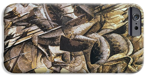 Newspaper iPhone Cases - The Charge of the Lancers iPhone Case by Umberto Boccioni