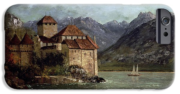 Swiss iPhone Cases - The Chateau de Chillon iPhone Case by Gustave Courbet