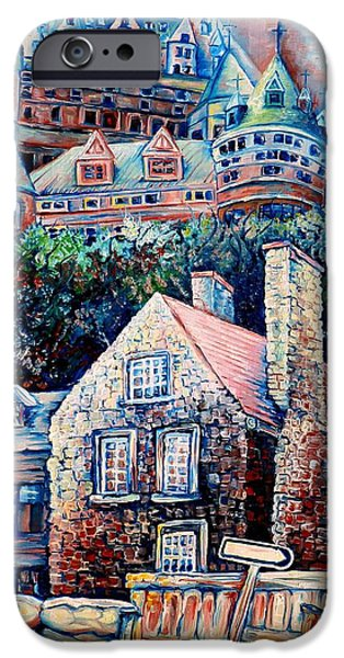 Afterschool Hockey Montreal Paintings iPhone Cases - The Chateau Frontenac iPhone Case by Carole Spandau