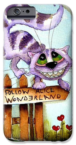 Alice In Wonderland iPhone Cases - The Cheshire Cat - Follow me iPhone Case by Lucia Stewart