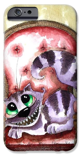Alice In Wonderland Paintings iPhone Cases - The Cheshire Cat - Lovely sofa iPhone Case by Lucia Stewart