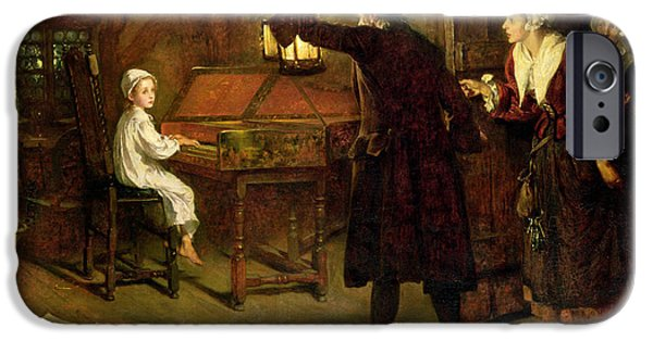 Young Paintings iPhone Cases - The Child Handel Discovered by his Parents iPhone Case by Margaret Isabel Dicksee