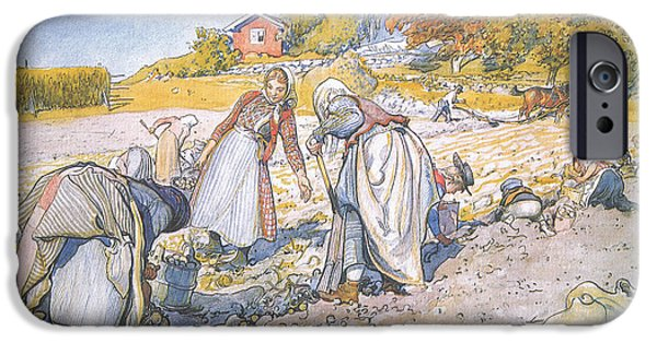 Working Artist iPhone Cases - The children filled the buckets and baskets with potatoes iPhone Case by Carl Larsson