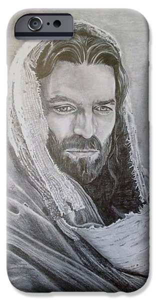 Jesus Drawings iPhone Cases - The Christ iPhone Case by William Ford