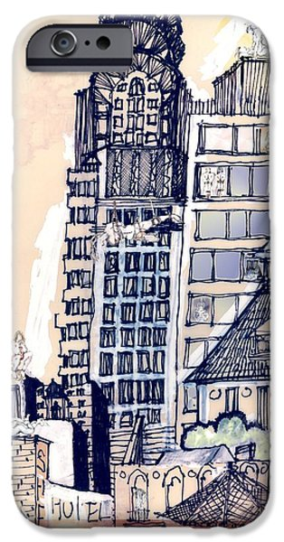 Buildings Mixed Media iPhone Cases - The Chrysler Building An Erotic Fantasy iPhone Case by Carolyn Weltman