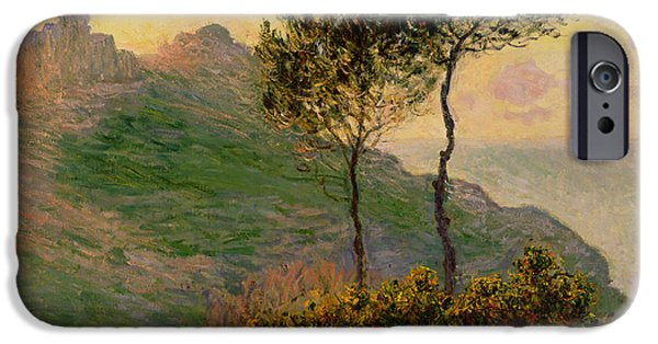 Ocean Sunset iPhone Cases - The Church at Varengeville against the Sunlight iPhone Case by Claude Monet