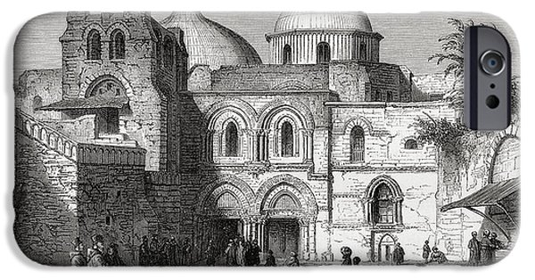 Sepulchre Drawings iPhone Cases - The Church Of The Holy Sepulchre In The iPhone Case by Vintage Design Pics