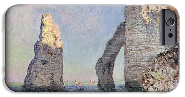 Sailing Paintings iPhone Cases - The Cliffs at Etretat iPhone Case by Claude Monet