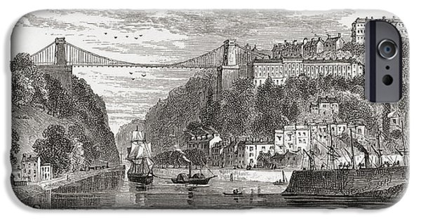 Suspension Drawings iPhone Cases - The Clifton Suspension Bridge, Spanning iPhone Case by Ken Welsh