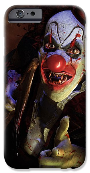 Nose Digital Art iPhone Cases - The Clown iPhone Case by Karen K
