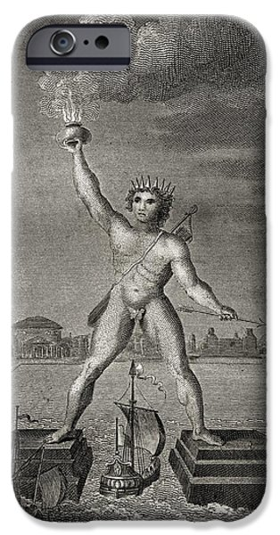 Rhodes iPhone Cases - The Colossus Of Rhodes. Engraved By iPhone Case by Ken Welsh