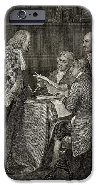 Franklin Drawings iPhone Cases - The Committee Of Five Drafting iPhone Case by Ken Welsh