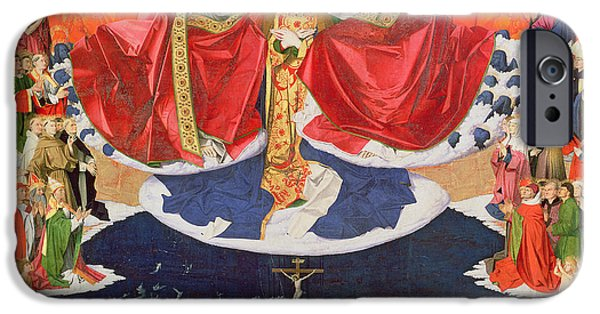 New Martyr iPhone Cases - The Coronation of the Virgin iPhone Case by Enguerrand Quarton