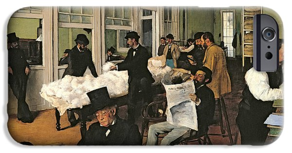 Newspaper iPhone Cases - The Cotton Exchange iPhone Case by Edgar Degas