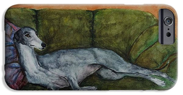 Greyhound iPhone Cases - The Couch Potatoe iPhone Case by Frances Marino
