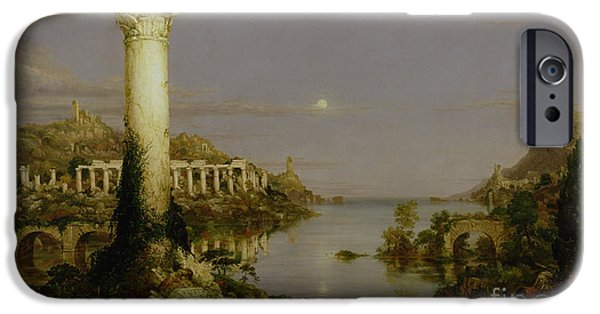 Calm Paintings iPhone Cases - The Course of Empire - Desolation iPhone Case by Thomas Cole