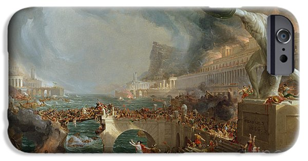 Statue iPhone Cases - The Course of Empire - Destruction iPhone Case by Thomas Cole