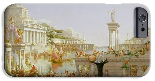 Boat Paintings iPhone Cases - The Course of Empire - The Consummation of the Empire iPhone Case by Thomas Cole