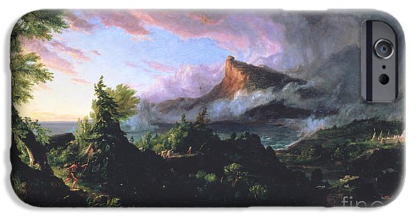 Hudson River iPhone Cases - The Course of Empire - The Savage State iPhone Case by Thomas Cole