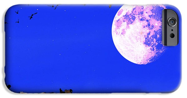 Cow Humorous iPhone Cases - The Cow Jumped Over The Moon . Square iPhone Case by Wingsdomain Art and Photography